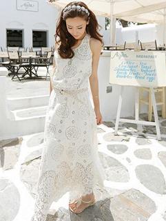 Noble Korean Women Sleeveless O-Neck White Party Maxi Dress