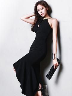 Low-cost Hollow Out Ribbon Collar Black Dress Open Back Fishtail Hem Bodycon Dress