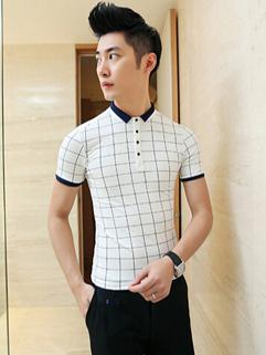 Korean Style Grid Print Short Sleeve Slim Fit Polo Shirt For Man