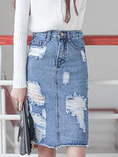 2015 Punk Stylish Women Hole Half Denim High Waist Skirt