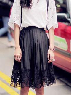 2015 Summer Fashion Women Lace Split Ball Gown Black Chiffon Skirt