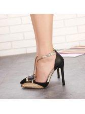 Pointed Toe Patchwork Black Heel Pumps