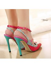 Euro Style Rivets T-strap Pointed Toe Red Pumps Color Matching Thin Heels Pumps