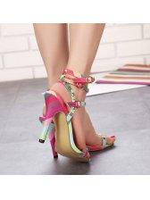 Beautiful Rivets Three Buckles T -strap Colorful High Heels Pumps