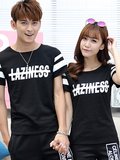 Wholesale Letter Print Short Sleeve Black Printing Couple T shirt