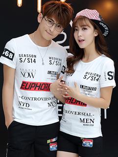 Individual Letter Print Short Sleeve Summer Couple T shirt