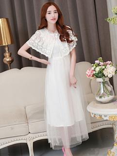 Summer Vintage Women Shawl Ball Gown Chiffon White Maxi Dress