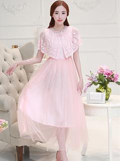 2015 Summer Court Stylish O-Neck Lace Split Pink Women Party Dress