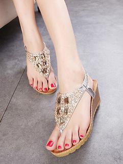 Beautiful Elastic Band Rhinestones Thong Sandals