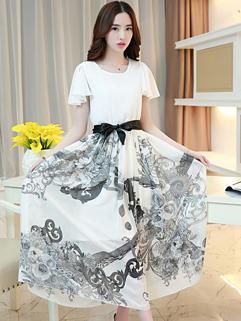 2015 Evening Party Women Floral Printing Chiffon Gray Maxi Dress