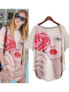 Unique Design Women MD-Long Printing Loose Short Sleeve Chiffon Blouse