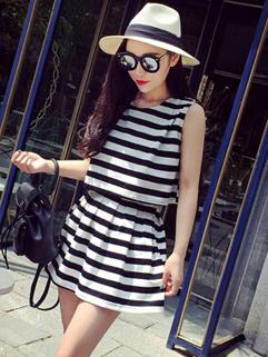 Korean Style Elegant Sleeveless White Striped Printed Split Joint Women Dress