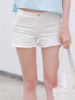 2015 New Arrival Simple Women Short High Waist White Pant
