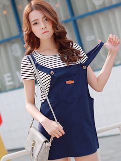 Summer Hot 2015 Women Striped Short Sleeve Blue Two Pieces Dress