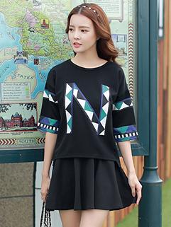 2015 Plus Size Women Korean Letter Printing Loose Black Two Pieces Dress