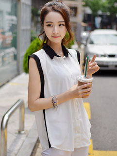 Easy Matching Contrast Color Loose-fitting Sleeveless Cheap White Blouse