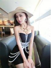 2015 Summer Strapless Floral Print Overlay Black Tight Dress