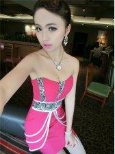 Nightclub Style Strapless Floral Print Overlay Rose Sheath Dress