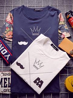 Korean Style Street Wear 2 Color Printed Split Joint Men Customized Tee