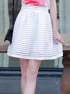 2015 Elegant Women Solid Color Half Skater White Skirt