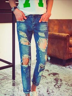 2015 Latest Design Men Korean Style Hole Zipper Up Half Denim Ninth Pant