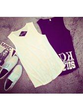 2015 Latest Design Men Punk Style Letter Print Pattern Loose Vest