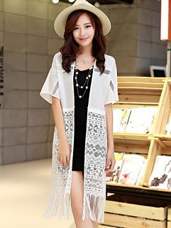 Special Design Women Summer Tassel MD-Long White Blouse