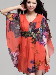 2015 Latest Summer Design Women Gilding Sequined Stitching V Neck Large Size Loose Dress