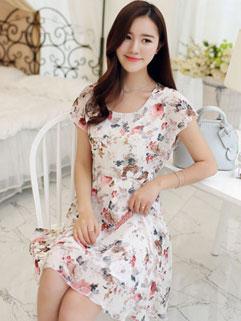 Graceful Floral Print Short Sleeve Smart Waist Summer Dress