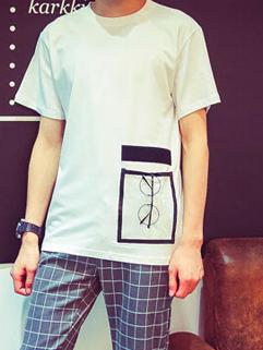 2015 Latest Design Men Korean Style Loose Round Neck Tee