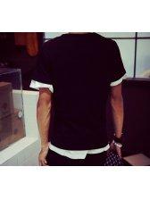 2015 Latest Design Men Korean Style No.5 Hot Silvery Print Slim Casual Tee