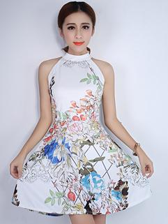 Elegant Flower Print Smart Waist Fluffy White Dress