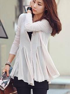 Korean Summer Match White Ruffle Split Joint Button Long Sleeve Cardigan