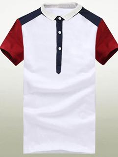 2015 Latest Design Korean Style Men Fashion Slim Lapel Raglan Half Sleeve POLO Tee