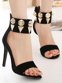Fashion Thin Heels Cabochon Anklet Back Zip Black Pumps