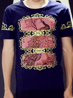 Latest Summer Design Men Fashion Gilding Peacock Printed Slim Round Neck Short Sleeve Tee