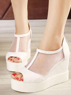 Korean Style See-through Peep Toe Back Zip White Wedges