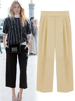 Euro Style Street Wear OL Boot Cut Elastic Fly Pockets Women Pant