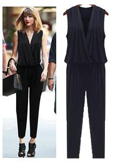 2015 Euro Style Fashion Sexy And Elegant V Neck Sleeveless Slim Wear Fresh Jumpsuit