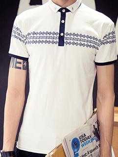 2015 Summer Design Men Casual Printed Slim Round Neck Short Sleeve Tee