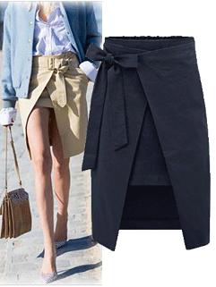 Euro Style Chic Brand OL Style Bow Elastic Fly Asymmetrical Hem Newly Skirt