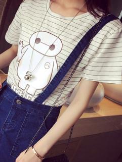 2015 Cute Brand White Printed Short Sleeve Cotton Korean T-Shirt