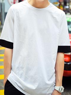 2015 Latest Design Men Long Black Cuff Loose Short Sleeve Tee