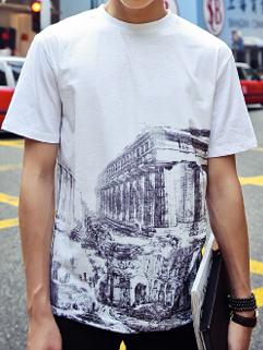 2015 Latest Summer Design Men Greek Building Series Printed Slim Loose Round Neck Short Sleeve Tee