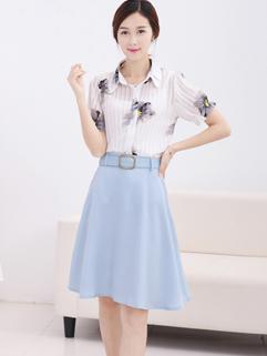 2015 Korean Style OL Match High Quality Lapel Printed Pleated Elegant Women Suit