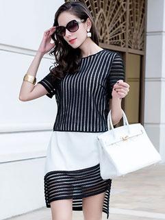 Fashion Vertical Stripes Contrast Color Eyelets Asymmetric Hem Black Dress