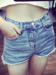 Street Wear All Match Light Blue Short Zipper Fly Women Cheap Denim Jean