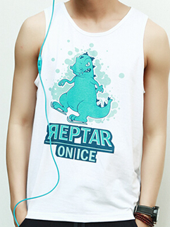 Cartoon Dinasaur Printed Vest 2015 Latest Summer Design Korean Fashion Style