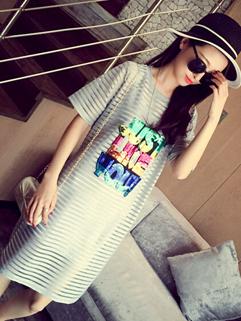 Summer High Quality Light Gray Half Sleeve Striped Printed Sequined Lining Korean Dress