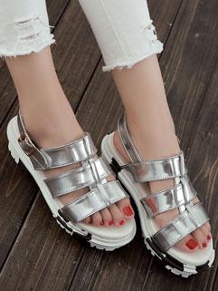 Fashion Chunky Heels Open Toe Belt Buckle Womans Sandals